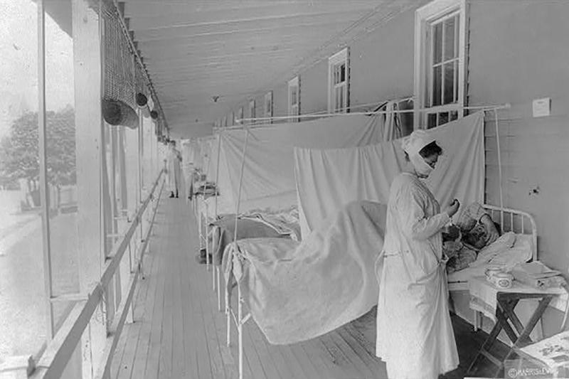An influenza ward in Washington, D.C., 1918