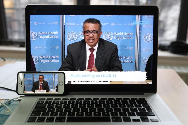 WHO Director-General Tedros Ghebreyesus at a virtual press conference, March 2020