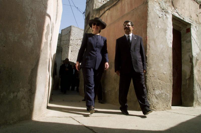 Then U.S. first lady Hillary Clinton visits a USAID housing project in Marrakech, Morocco, March 1999