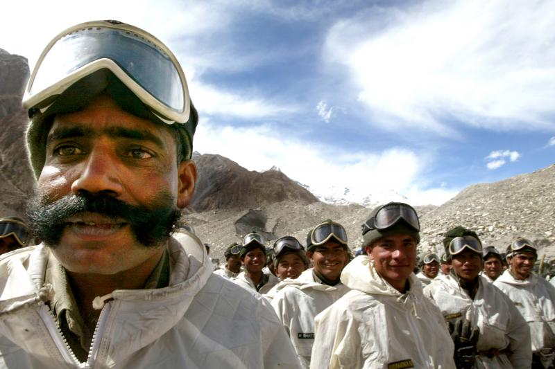 Indian soldiers at their base beneath a glacier in Indian-administered Kashmir, October 2003