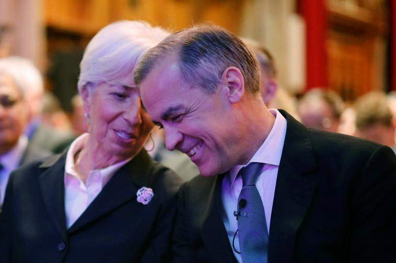 Lagarde and Carney at a climate changeevent in London, February 2020