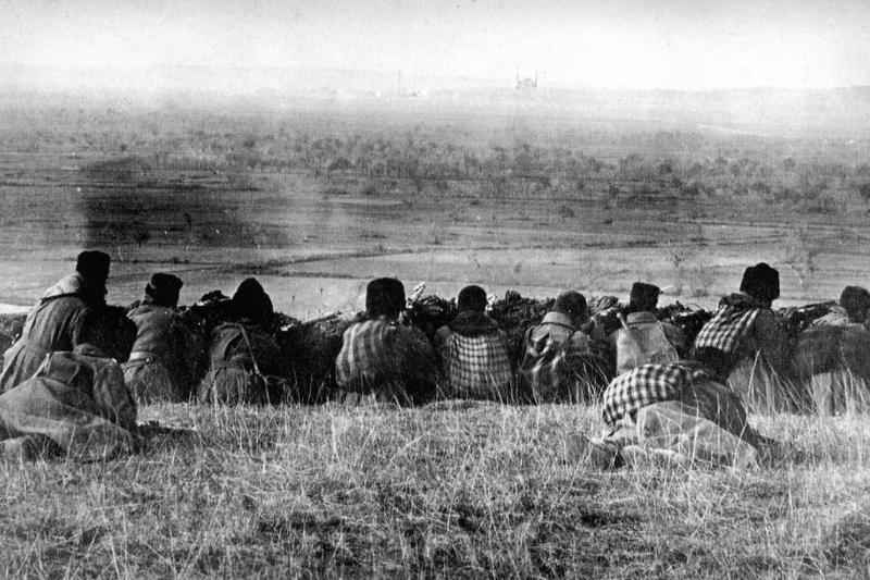 Bulgarian soldiers outside the Ottoman city of Adrianople during the First Balkan War, 1912