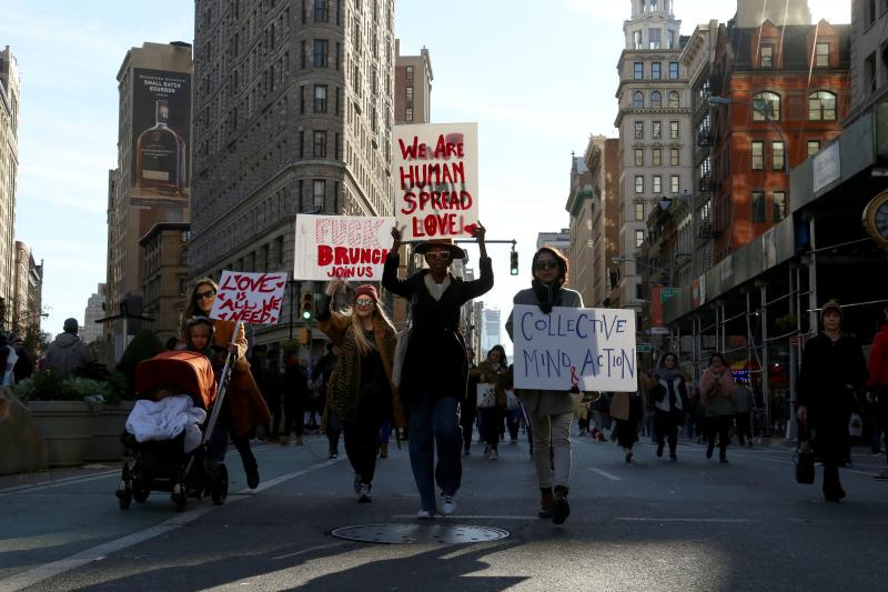 Ananti-Trumpprotest allegedly organized by the IRA, New York,November 2016