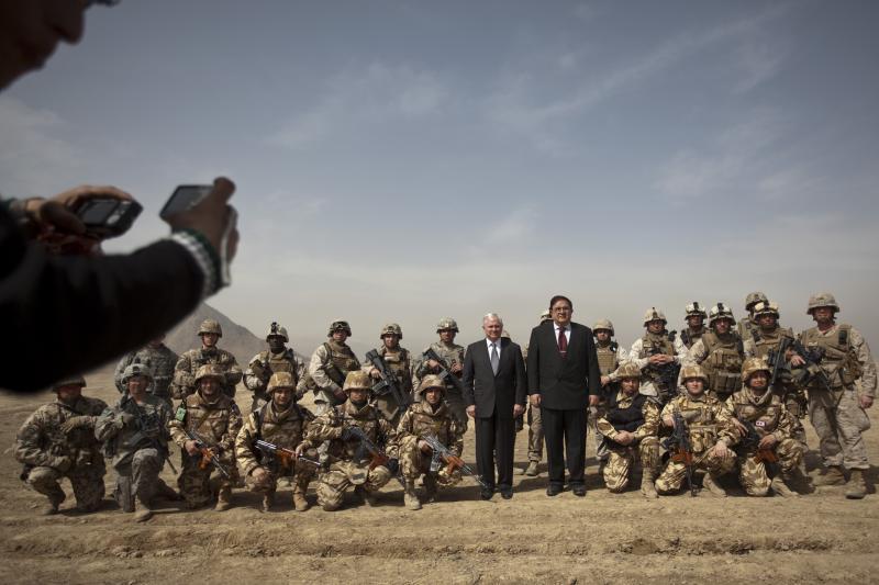 U.S. Secretary of Defense Robert Gates and his Afghan counterpart Abdul Rahim in Kabul, Afghanistan, March 2010