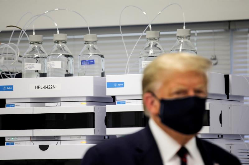 U.S. President Donald Trump touringa pharmaceutical manufacturing plant in Morrisville, North Carolina, July 2020