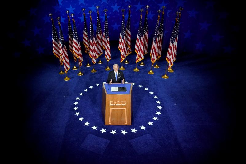 Biden acceptingthe 2020 Democratic presidential nominationin Wilmington, Delaware, August 2020