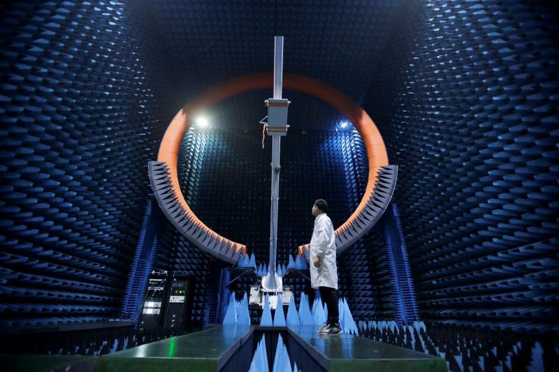 Testing telecommunications equipment, Dongguan, China, May 2019