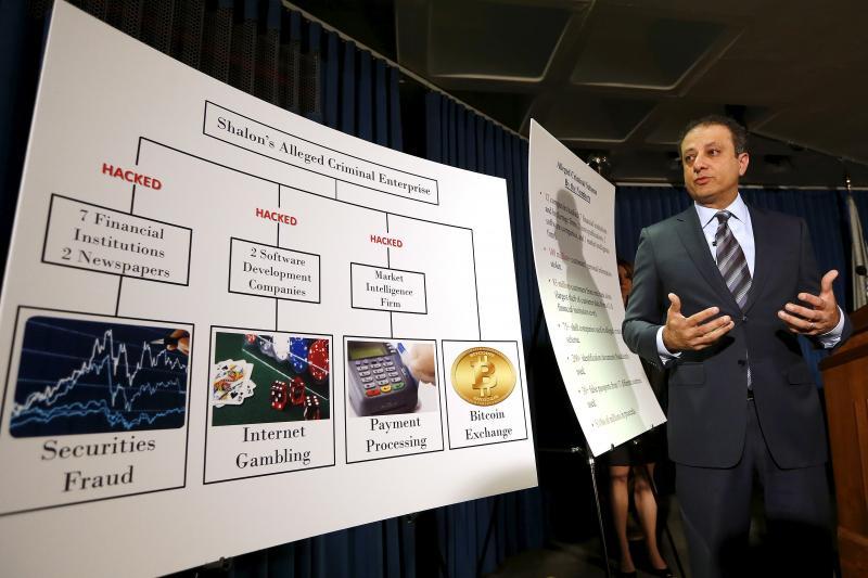U.S. Attorney Preet Bharara discussing the hacking of JPMorgan Chase, New York, November 2015