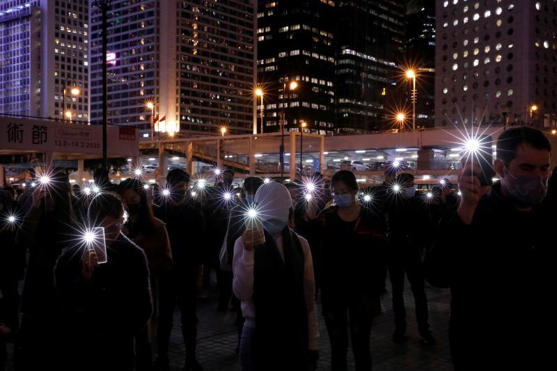 Antigovernment demonstrators in Hong Kong, December2019