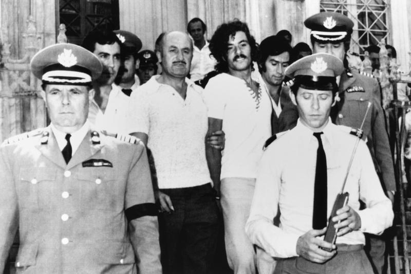 Zemed Mohammed Ahmed, Black September terrorist, in police custody in Athens. Aug. 7, 1973