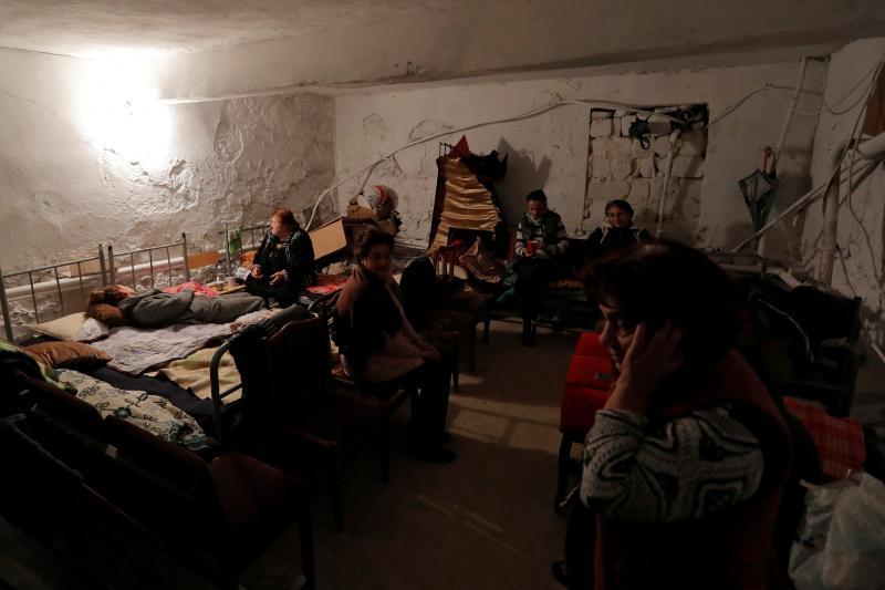 Civilians shelter in a basement in Martuni, Nagorno-Karabakh,October 2020