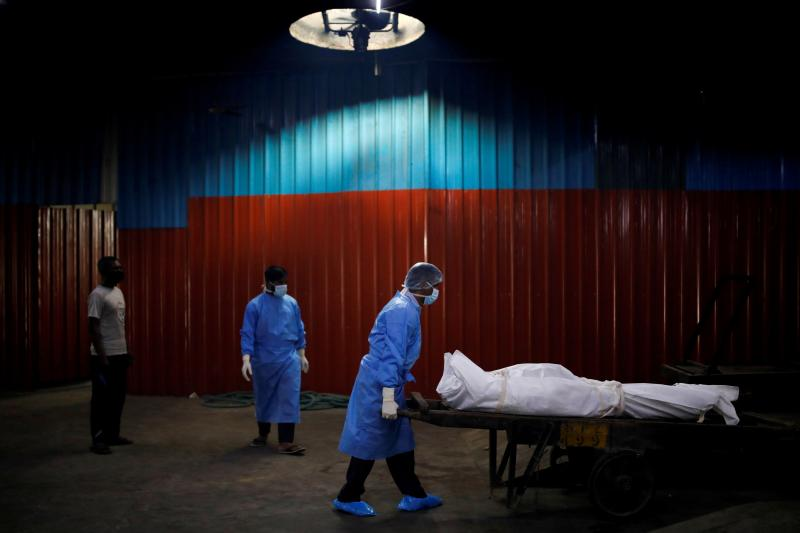 Health-care workers in New Delhi, India, September 2020