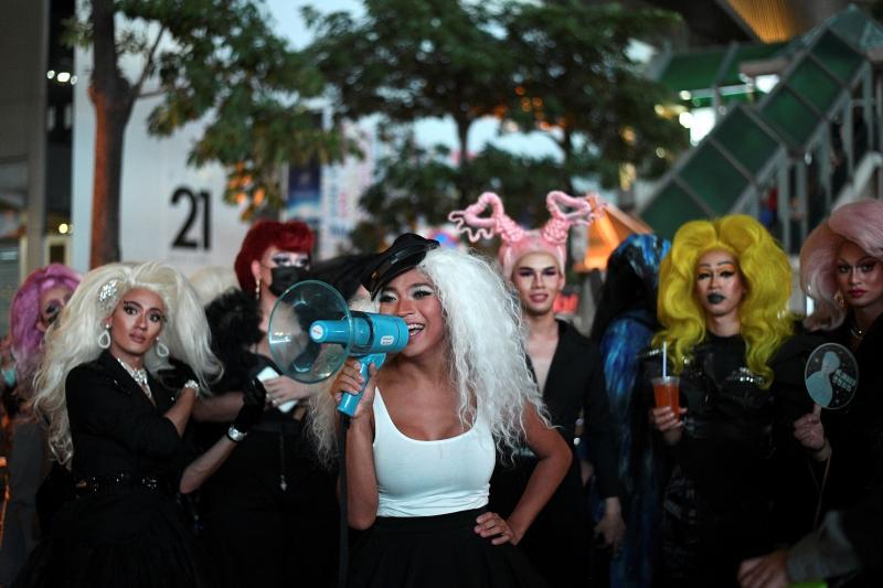 Transgender drag queens join protests in Bangkok, Thailand, October 2020