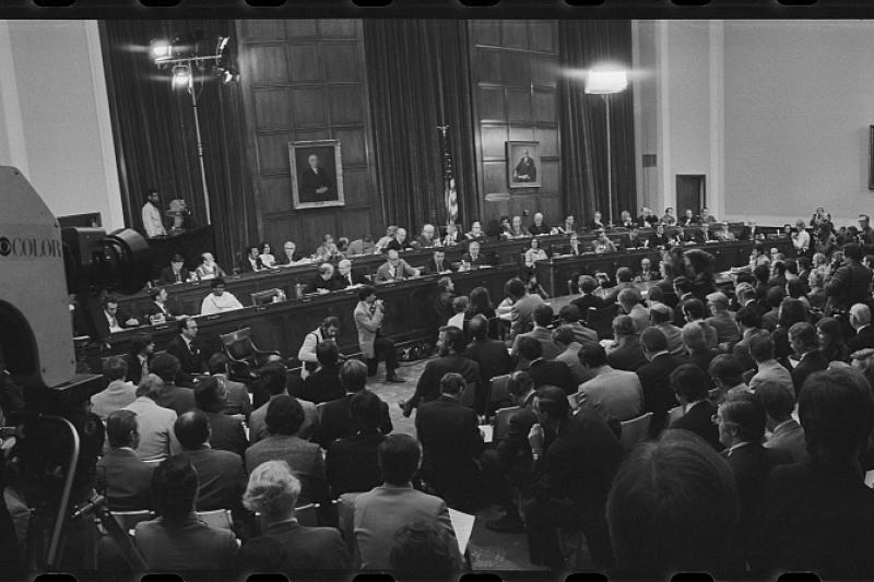 Impeachment hearings against Nixon in Washington, D.C.,May 1974