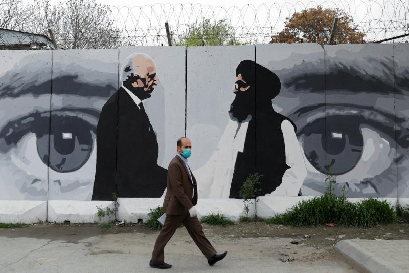 A painting of U.S. and Taliban negotiators in Kabul, Afghanistan, April 2020