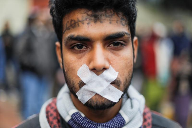 A protesteragainst a new citizenship law in Delhi, India, December 2019