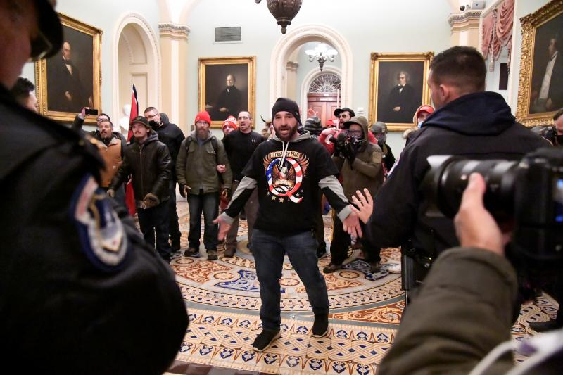 Supporters of President Donald Trump inthe U.S. Capitol, in Washington, D.C.January 2021