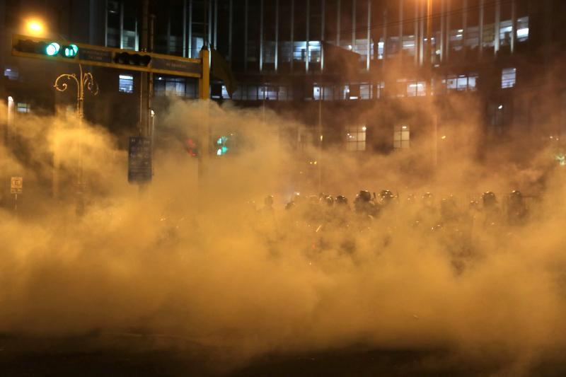 Demonstrators clash with police in Lima, Peru, November 2020