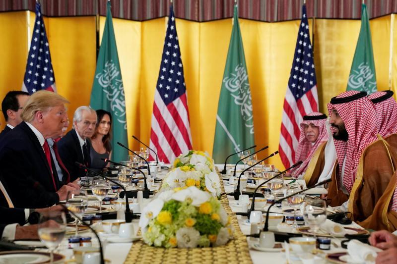 Trump with Saudi Arabia's Crown Prince Mohammed bin Salman in Osaka, Japan, June 2019