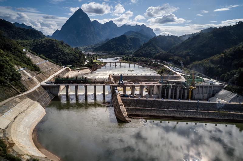 A dam on the Mekong River inLuang Prabang Province, Laos, December 2018