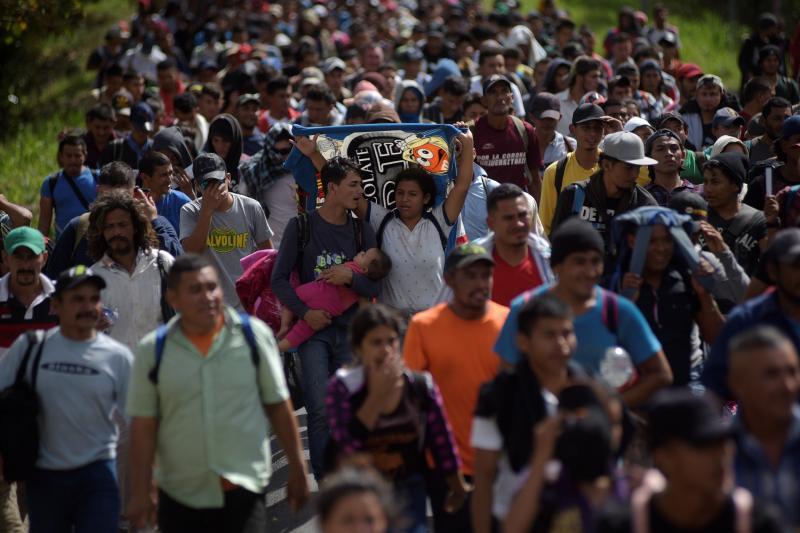 Migrantes hondureños se dirigen hacia los Estados Unidos y pasan por Esquipulas (Guatemala), enero de 2020