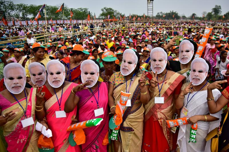 BJP supporters attend a rally addressed by Modi in Moran, India, March 2019