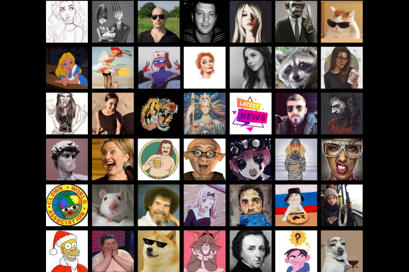 A selection of profile pictures from pro-Putin social media accounts