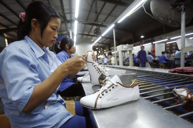 A shoe factory in Hanoi, Vietnam, November 2014