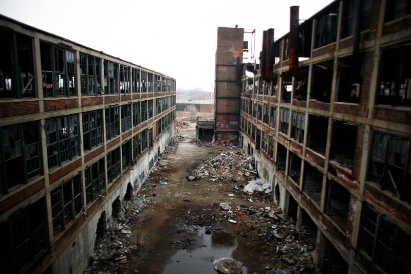 An abandoned factory in Detroit, Michigan, April 2011