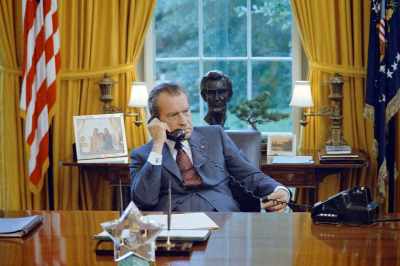 Richard Nixon in the White House Oval Office, June 1973