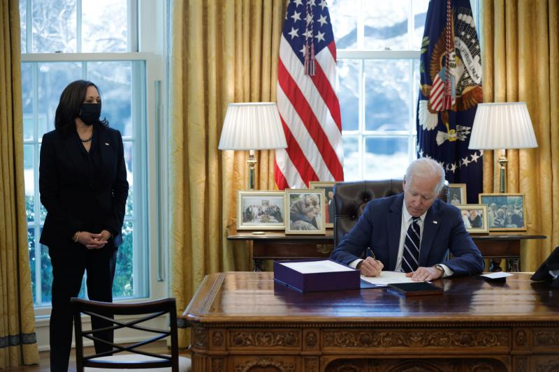 Biden signing the American Rescue Plan in Washington, D.C., March 2021U.S. President Joe Biden signing the American Rescue Plan in Washington, D.C., March 2021