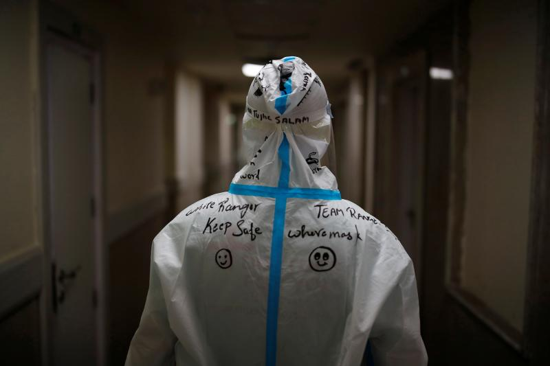 A medical worker in a hospital on the outskirts of New Delhi, India, May 2021