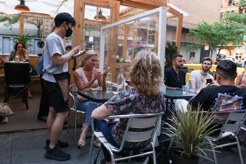 Dining outdoors in New York City, May 2021