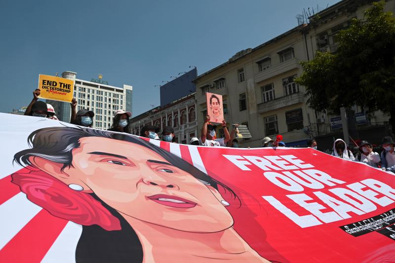 Demonstrators protest against the military coup in Yangon, Myanmar, February 2021