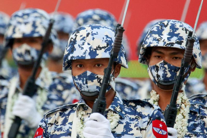 Military personnel in a paradein Naypyitaw, Myanmar, March 2021