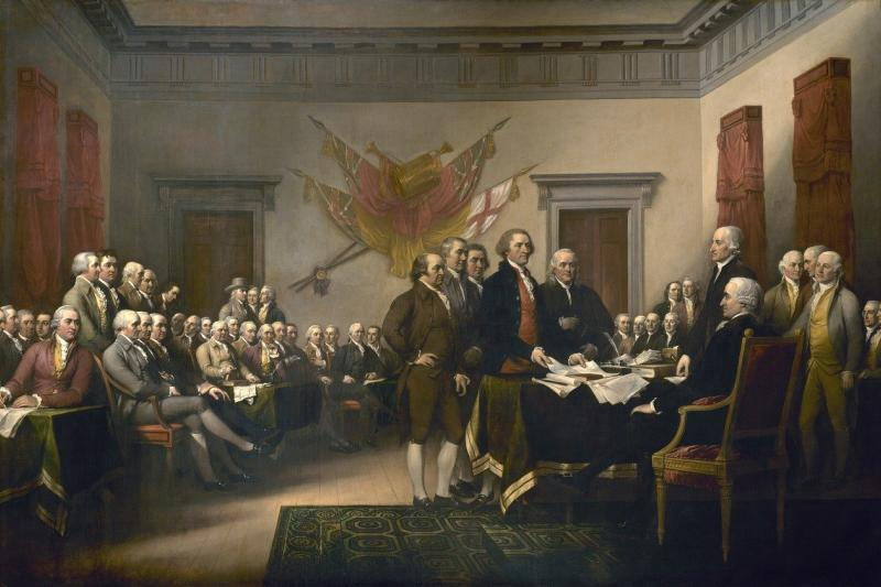 """John Trumbull's 1819 painting, """"Declaration of Independence"""""""