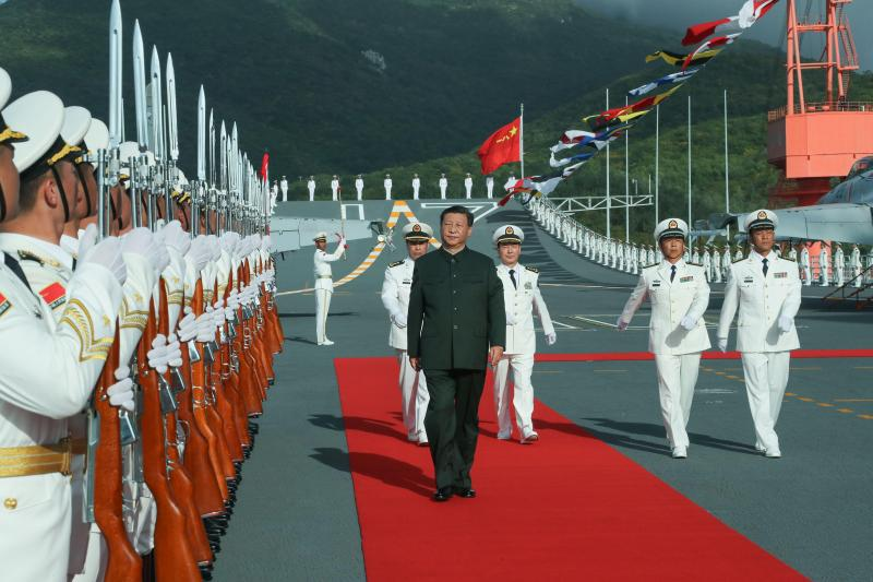 Xi Jinping inspects an aircraft carrier in Hainan Province, China, January 2020