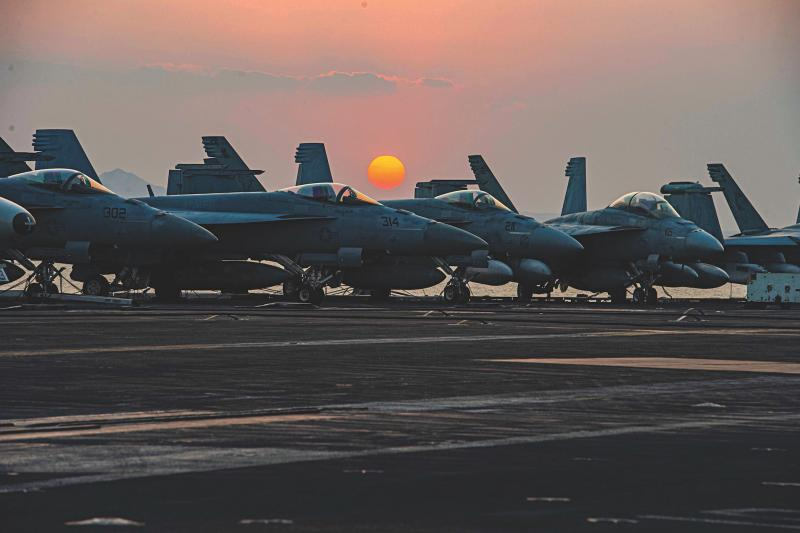 A U.S. Navy aircraft carrier, Suez Canal, Egypt, April 2021