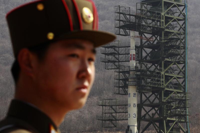 Standing guard near Pyongyang, North Korea, April 2012
