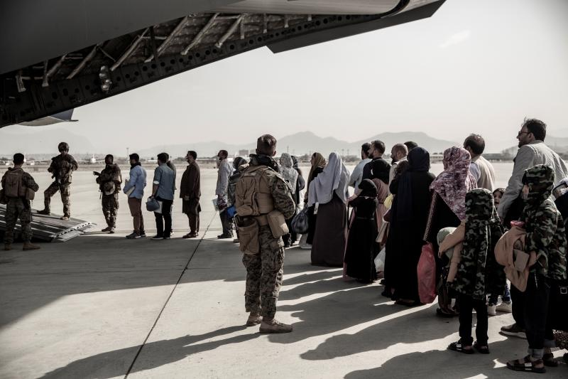Waiting to evacuate from Hamid Karzai International Airport in Kabul, Afghanistan, August 2021
