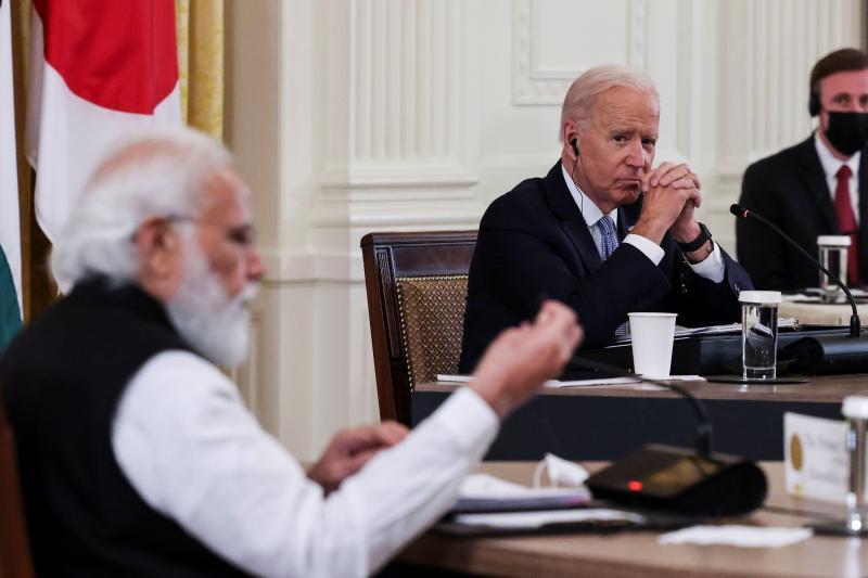 Biden and Indian Prime Minister Narendra Modi at a Quad meeting in Washington, D.C., September 2021