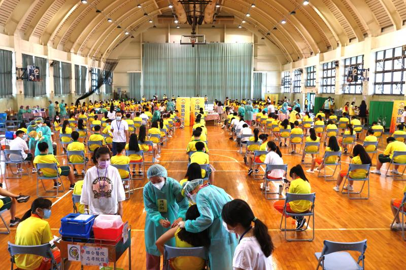 Getting vaccinated against COVID-19 in Taipei, Taiwan, September 2021