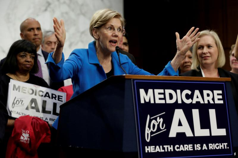 """enator Elizabeth Warren (D-MA) speaks during an event to introduce the """"Medicare for All Act of 2017"""" on Capitol Hill in Washington, U.S., September 13, 2017."""