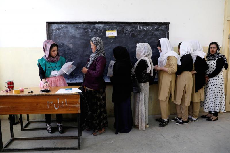 Women register to vote in Kabul, Afghanistan, April 2018