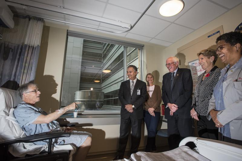 Sanders visits a hospital in Toronto, Canada, October 2017