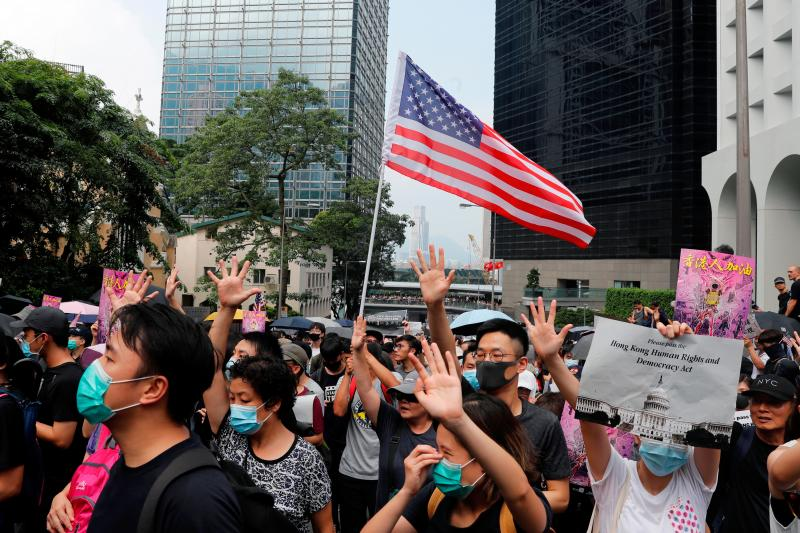 Protestors march for U.S. aid in Hong Kong, September 2019