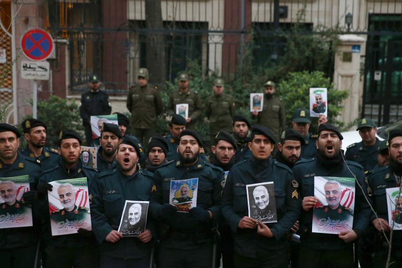 Policemen protest the assassination of Soleimani in Tehran, Iran, January 2020