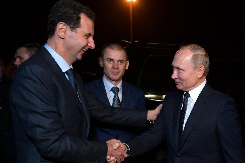 Assad and Putin in Damascus, Syria, January 2020