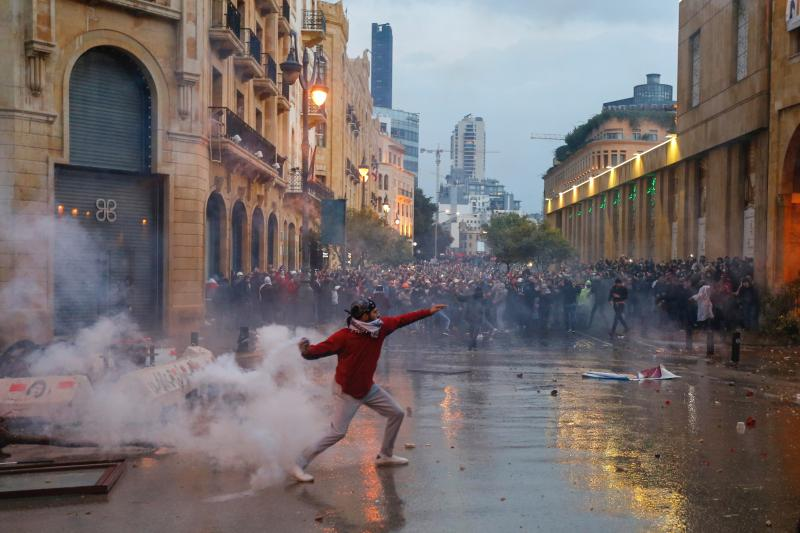 A demonstrator in Beirut, Lebanon, January 2020