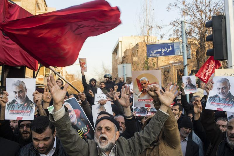 Protests against Soleimani's assasination in Tehran, Iran, January 2020